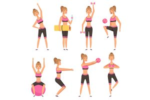 Fitness girl. Female sport character