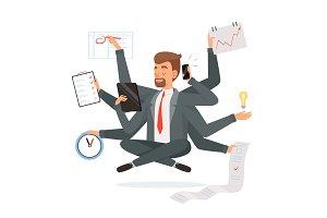 Multitasking businessman. Office