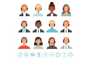 Call center operators avatars. Male