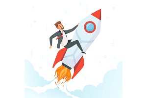 Businessman on rocket. Concept of
