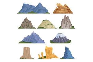 Rockies mountains. Volcano rock snow