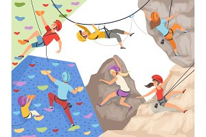 Climb characters. Extreme sport