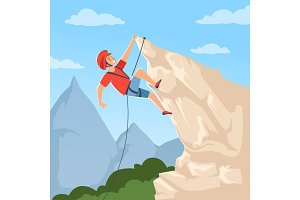 Mountain climber on hills. Poster