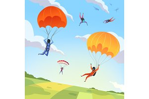 Parachute jumpers sky. Extreme sport