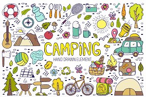 Camping hand drawn element