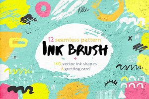 Ink brush pattern, card & shapes