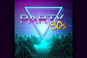 Futuristic background 80s style