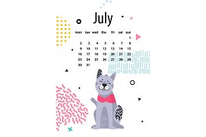 July Calendar for 2018 Year with