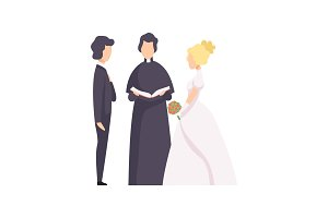 Couple of newlyweds and priest