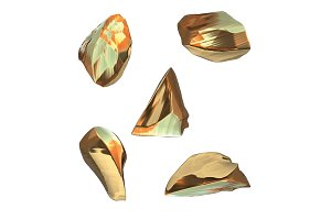 Set of golden nuggets isolated on
