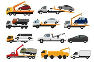 Tow truck vector towing car trucking