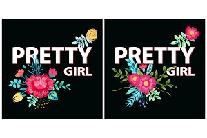 Pretty Girl Posters, Flowers Vector