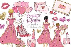 Romantic date Valentine Clipart set