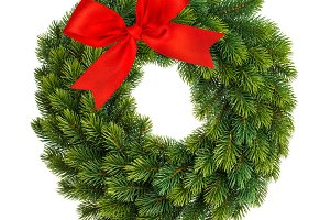 Christmas wreath red decoration whit