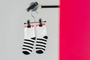 pair of black and white cotton socks