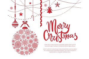 Merry Christmas Poster, Text Vector