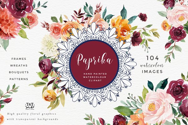Watercolor Flower Clipart -Paprika