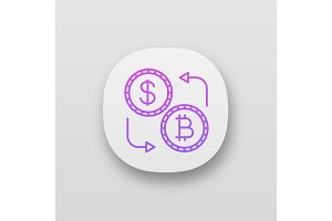 Bitcoin and dollar exchange icon