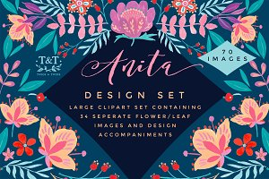 Handpainted Floral Clipart Set Anita