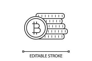 Bitcoin coins stack linear icon