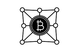 Blockchain network glyph icon