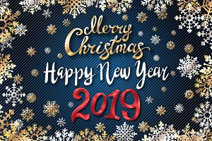 gold Merry Christmas Happy new year