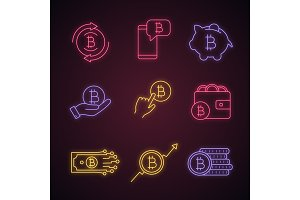 Bitcoin cryptocurrency neon icons