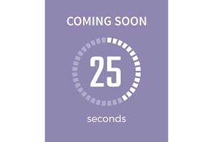 Coming Soon White Timer, Time Vector