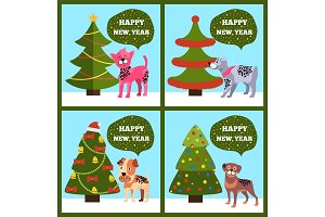 Happy New Year Banners with Dotted