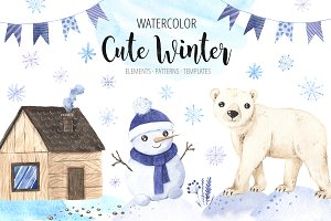 Watercolor Cute Winter Animals Set