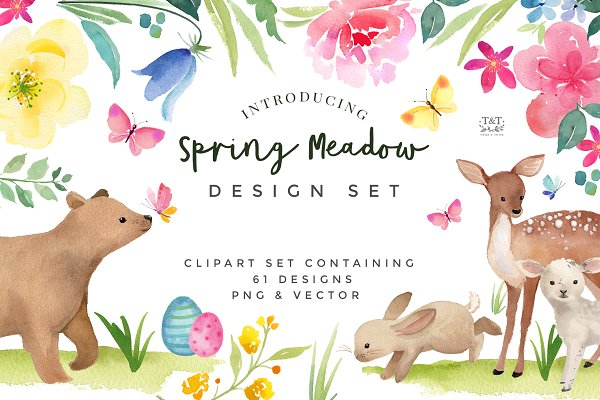 Spring Flower and Animal graphic se…