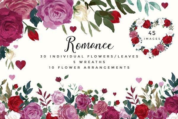 Romance- Watercolor Clipart Set