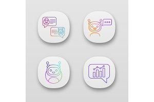 Chatbots app icons set
