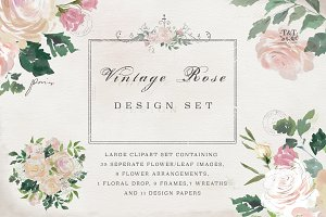 Flower Clipart Set - Vintage Rose