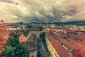 Vintage view over the city of graz