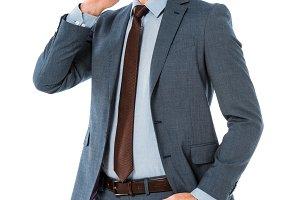 adult businessman talking on smartph