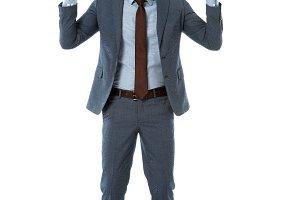 happy businessman in suit rejoicing