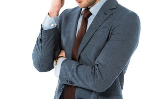 tired thoughtful businessman in suit