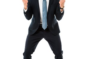 adult happy businessman gesturing an