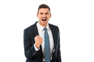 adult happy businessman shouting and