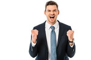 handsome pleased businessman shoutin