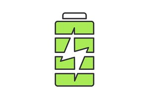 Battery charging color icon
