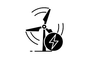 Wind energy turbine glyph icon