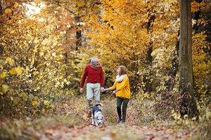 A senior couple with a dog on a walk