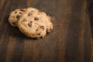 Detail of handmade cookies over wood