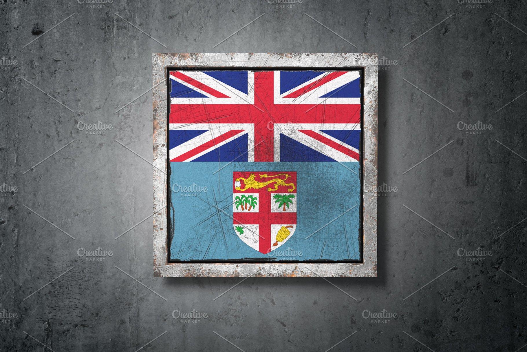 Fiji Flag In Concrete Wall