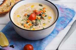 Lentil soup puree with tomatoes