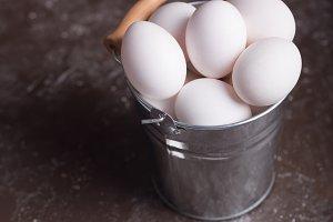 White chicken eggs in bucket on the