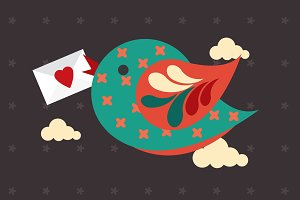 love letter/bird vector