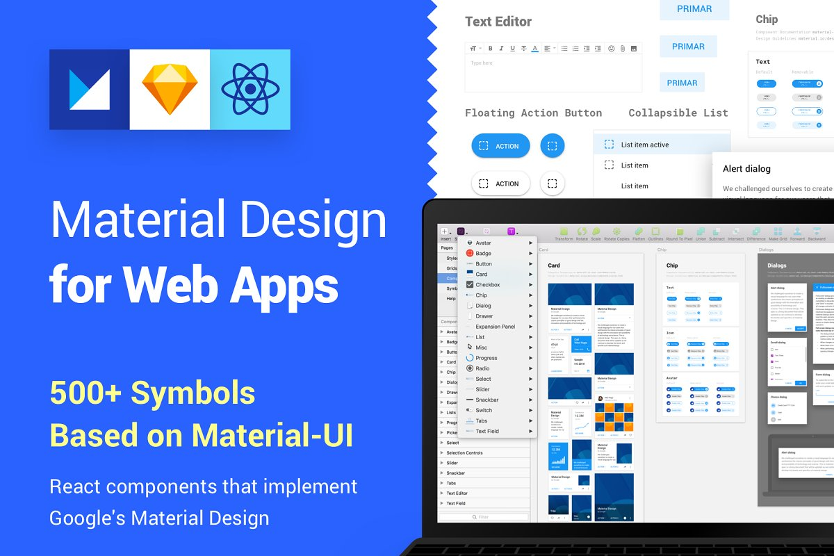 Material Design Kit for Web Apps ~ UI Kits and Libraries ~ Creative